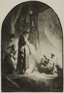 "Rembrandt Etching, ""Raising of Lazarus"""